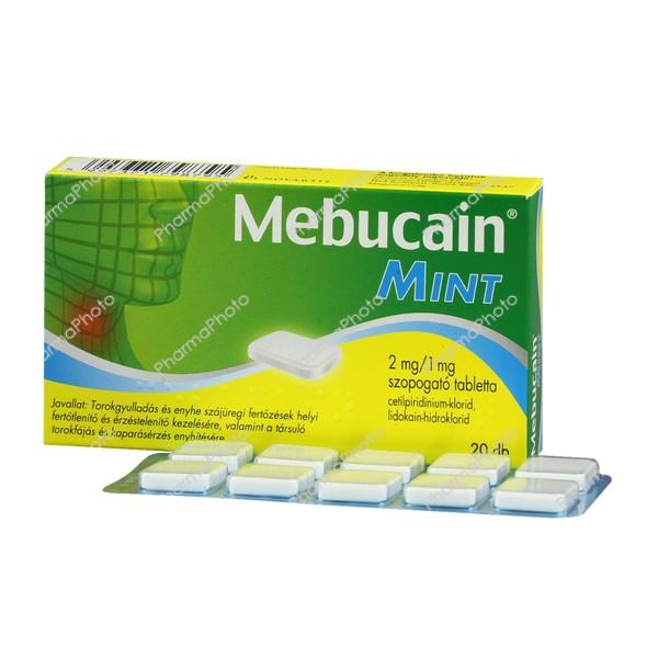 Mebucain Mint 2 mg/1 mg szopogató tabletta